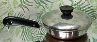 REVERE WARE 6 INCH FRYING PAN POT COPPER BOTTOM 1801 COOKWARE W/ LID FREE SHIP!