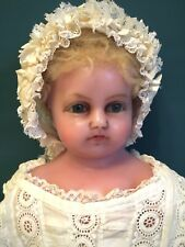 BEAUTIFUL 25 inch antique English poured wax baby or infant doll, loveliest face