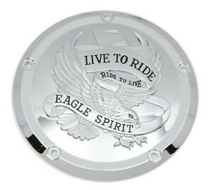 Chrome Eagle Live to Ride Clutch Derby Cover for 2016-2020 Harley Touring