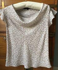 "French ""un jour ailleurs"" blouse / top white & beige stars size 1 UK 8-10"