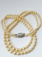 "Vintage 17"" Faux Pearl Double Strand Necklace Choker"