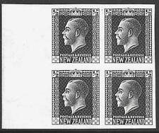 NEW ZEALAND 1915 1/2d block of 4 proof in black on card, UM/mint hinged. SG 435.