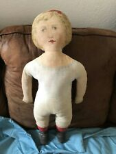 """Antique 27"""" Large Art Fabric Mills Printed Cloth Doll Dated Feb 16, 1900"""
