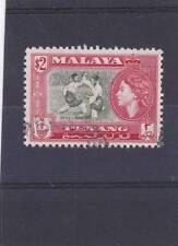 PENANG 1957 $2 BRONZE-GREEN & SCARLET SG.53 FINE USED  CAT £20