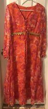 Hippie Flower Dress Pink/Red/Orange Gold  Accent Sz 10 Sheer Overlay& Sleeve Vtg
