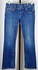 Miss Me Medium Blue Boot Jeans Silver/Rhinestone Embellishment Pocketed Size 31