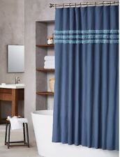 New Threshold Shower Curtain Eyelash Fringe Blue Navy Denim Fabric