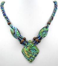 "Handmade 2.4"" Iridescent Paua Abalone Shell Beads necklace 24"" long ; FA361"