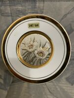 Vintage John Jenkins Japanese Flower Porcelain Plate With 24 Gold Design /Rare!!
