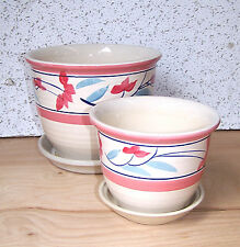"Set Of 2 Ceramic 8"" And 5"" Planters With Saucers Flower Pots Floral Motif"