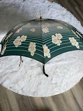 Vintage Peerless London Umbrella Floral Stripes Uk Deadstock Parasol Green