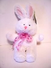 White Plush Bunny Rabbit With Pink Bow Decoration Spring Easter Basket