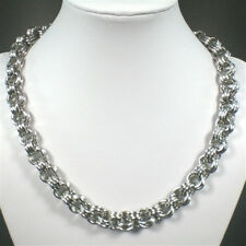 Massive Edelstahl Halskette Collier poliert mit Stegösenverschluß