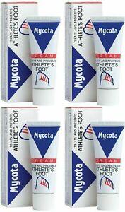 4 x MYCOTA CREAM TREATS AND PREVENTS ATHLETES FOOT ANTI-FUNGAL CREAM 25g