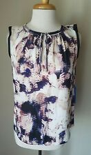 NWT Simply Vera Wang Women's Sleeveless Peasant Top Watercolor Purple Floral S