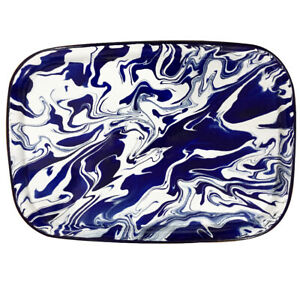 Unique Blue & White Marble Effect Enamel Tray, Suitable for Display & Serving
