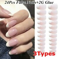 24PCS Natural Pink French Style False Nail Tips Fake Artificial Nails+2g Glue~