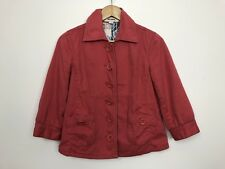 JUST JEANS Women Cropped 3/4 Sleeve Cotton Button Front Jacket Coat Size 8