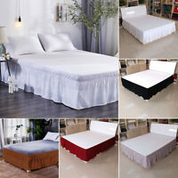 Bed Skirt Polyester Wrap Around Dust Ruffle Drop Elastic Bedding Bed Protective