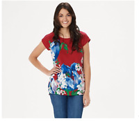 Studio by Denim & Co. Round-Neck Cap Sleeve Curved Hem Top Red Multi 1X A354159