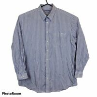 RM Williams Stockyard Blue Striped Relaxed Fit Long Sleeve Shirt Ssize XB