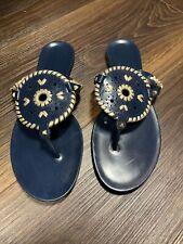 Women's Jack Rogers Georgica Jelly Navy & Gold Sandal / Flip Flop Sz. 10
