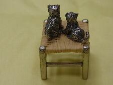 2871-925er Silber Miniatur Hocker Von Brev m 2 Katzen Höhe 4 Breit 2,5 cm