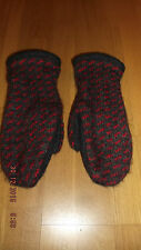 Norwegian woolen mittens w/cotton lining gray/red S/M Free global shipping