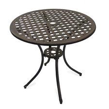 Outdoor Garden Furniture Stamford Round Table Patio Set Parasol Hole Metal Patio