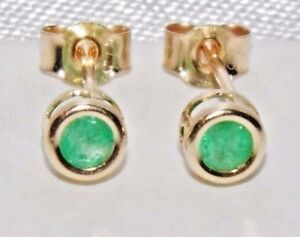 9ct Yellow Gold Emerald Ladies Solitaire Stud Earrings - Solid 9k Gold