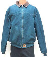 vtg Carhartt DARK TEAL SANTA FE Jacket XL Quilt Flannel Lined J14 Cord Collar