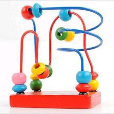 New Kids Baby Colorful Wooden Mini Around Beads Wire Maze Educational Game Toy