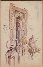 Handmade & Handpainted (watercolor) Postcard-Ornate City Gate-Man on Donkey