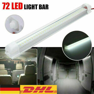 12V LED Streifen Leuchte Röhre 72-LEDs Auto Van VOLT Stablampe Lichtleiste DE