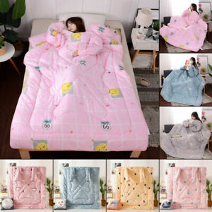 Winter Lazy Quilt with Sleeves Wearable Blanket Sleeping Duvet Zipper