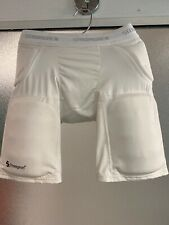 Boys White Stromgren Football Compression Pants, Size Youth L -with 5 Pads - Euc