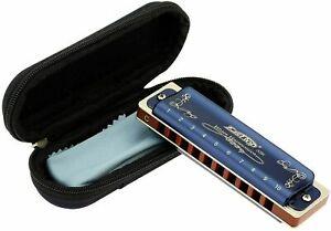 Easttop 10Holes Diatonic Blues Harmonica 10keys Blue Case Standard Harmonicas AU