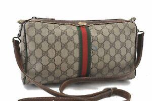 Authentic GUCCI Web Sherry Line Shoulder Bag GG PVC Leather Brown D0038