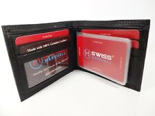 Swiss Marshal Black Premium Leather Bi-Fold Wallet with RFID Blocking#RFID510060