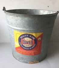 Vintage Dover #12 Galvanized Steel Pail Rustic Bucket