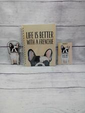 Frenchie Bulldog Dog Lined Notebook Magnet Ornament Set, Love My, Life's Better