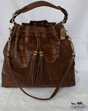 Coach Madison Croc Embossed Large Drawstring Shoulder Bag Color: Brown