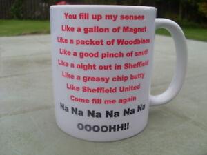 Sheffield United Greasy Chip Butty Song mug 11oz original new Birthday Gift