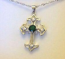 "Cc Verde Smeraldo Diamanti SIM Silver Cross & Catena 17"" (18k) GF Regalo in Scatola Uk 21"