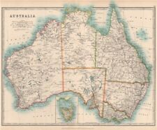 AUSTRALIA showing explorers' routes & goldfields. JOHNSTON 1912 map
