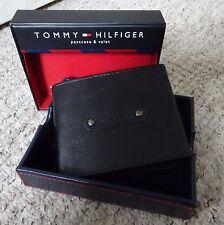 Tommy Hilfiger ~ Wallet & Valet & PASS ~ 100% di qualità in pelle ~ Nero ~ NUOVO CON SCATOLA