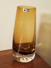 Vintage Svensk Form Bo Borgstrom Sweden Seda Amber Vase Beautiful!
