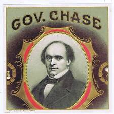 Gov. Chase, original outer cigar box label, portrait