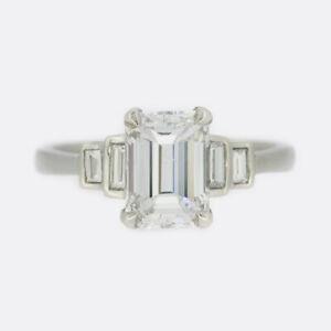 Gold Diamond Ring - Platinum 1.70 Carat Emerald Cut Diamond Ring