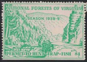 Virginia VA Hunting National Forest Permit to Hunt-Trap 1 1938-9 Resident $1.00